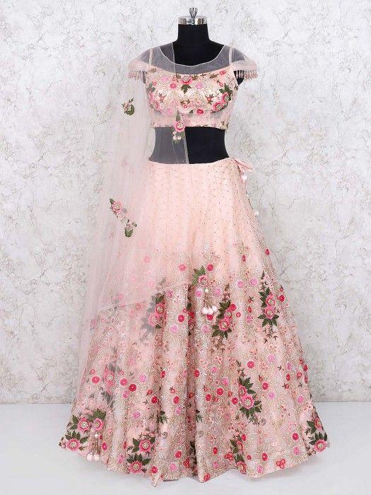 Peach Hued Pretty Net Lehenga Choli Wedding Lehenga Choli Designs Wedding Lehengas Latest Designer Lehe In 2020 Lehenga Designs Latest Simple Lehenga Lehnga Designs