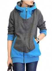 Color Block Patchwork With Zips Hooded Hoodies