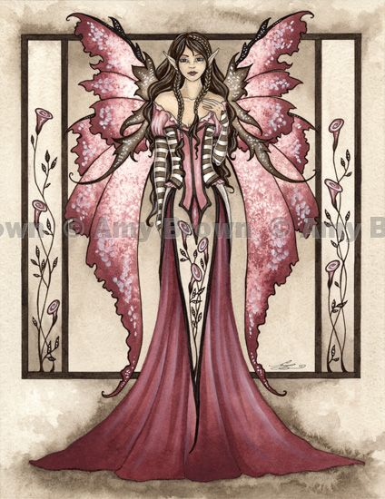 """Dusty Rose"" ORIGINAL ART - Watercolor Paintings Q - Z - Amy Brown Fairy Art - The Official Gallery:"