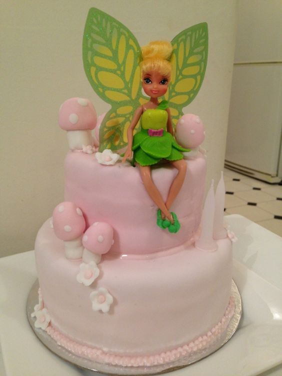 Pink two tier Tinkerbell  birthday cake