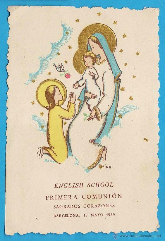 estampa / recordatorio comunion - english school - barcelona - año 1959 - rd1 (Postales - Religiosas y Recordatorios)