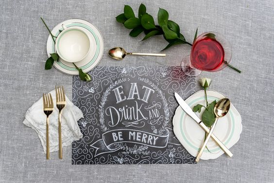 Eat Drink & Be Merry Christmas Placemats Holiday by LilyandVal
