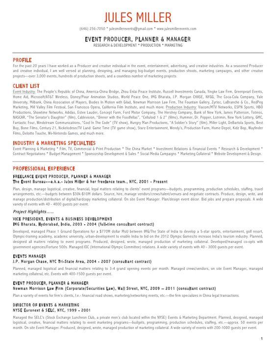 creative marketing director resume - Google Search Work - event producer sample resume