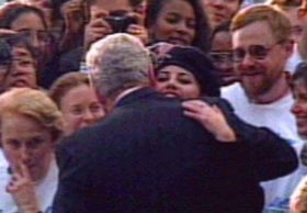 """1996 Intern Monica Lewinsky's affair with President Bill Clinton gives his political enemies the goods they need to begin impeachment hearings when he lies under oath about having """"sexual relations"""" with that woman, Ms. Lewinsky.  She made the beret famous once again.  And cigars."""