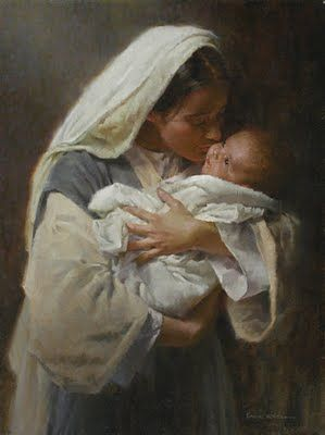 "♥ This painting seems to convey the wonder and love young Mary felt for her Son. It's called ""Kissing the face of God"":"