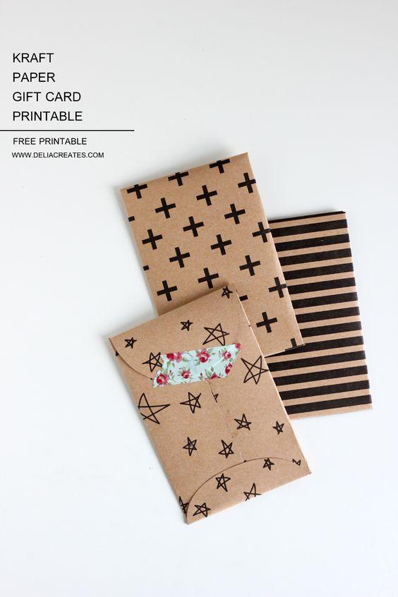 Kraft Paper Gift Card Envelope Free Printable Gift Card Envelope Gift Card Envelope Template Diy Gift Card