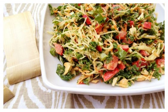 Kale Veggie Slaw with Sesame Miso Dressing        (1) cups grated carrots (about 2 medium)      (1) cup grated broccoli stalks (about 3)      (1) cup grated rutabega or turnip (1/2 large)      (3) cups green emerald kale, chopped fine      (1/2) large red bell pepper      (1/2 – 1) cup roasted cashews (whole or pieces)        Dressing:        (3/4) cup canola oil      (2) tbsp dark sesame oil      (1/4) cup apple cider vinegar      (1/4) cup white miso      3 tbsp fresh chopped ginger…