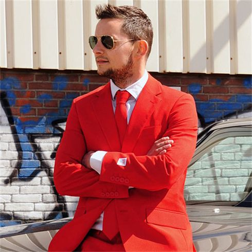 Want everyone's eyes on you? This striking red suit is a bold choice that's sure to do the trick!