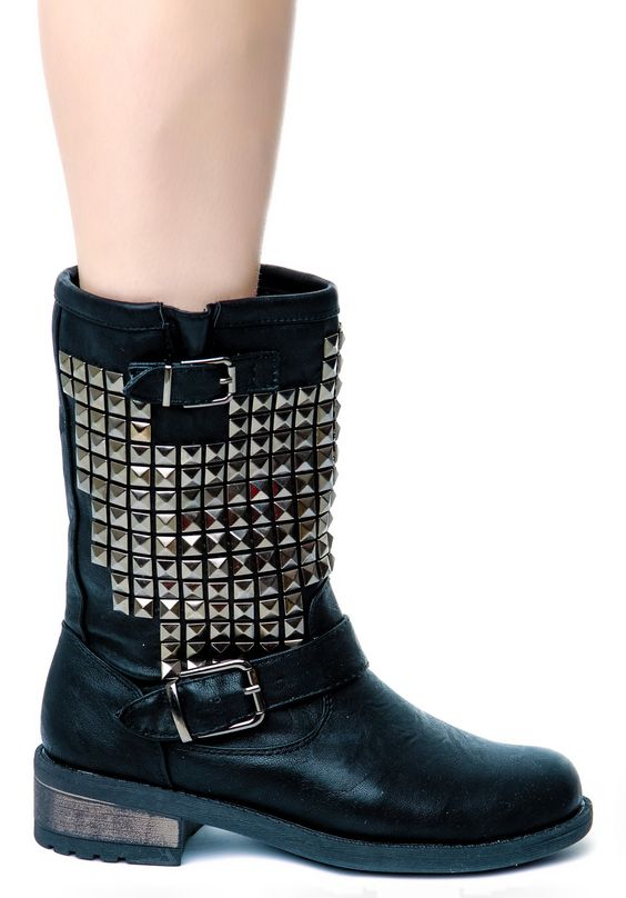 Wanted Studded Motor Motorcycle Boots | Dolls Kill