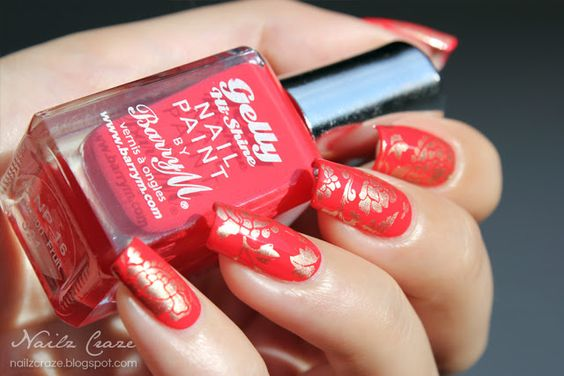 Red and Gold Chinese Inspired Nails: