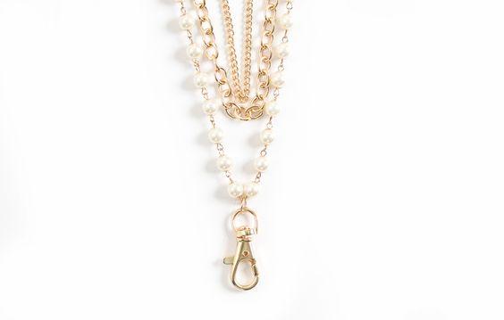 Sarah Layered Pearl Fashion Lanyard (Gold)