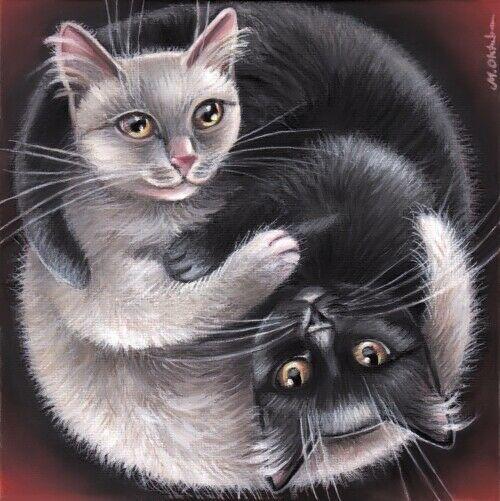Black White Cat Kitten Portrait Yin Yang Original 6x6 Art Painting By Marta Realism Halloween Digital Art Animal Paintings Cat Painting