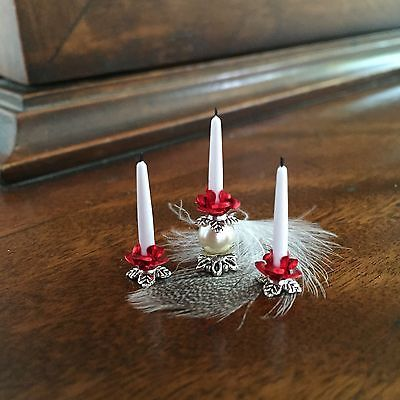 Dolls House Dollhouse 1:12 Miniature Fancy Candle Holder Candlestick Red Rose