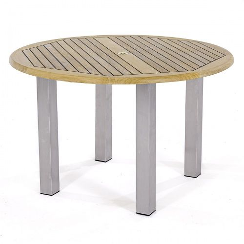 4ft Dia Vogue Dining Table Teak Stainless Stee Westminster Teak In 2020 Stainless Steel Furniture Teak Patio Furniture Teak Patio Table