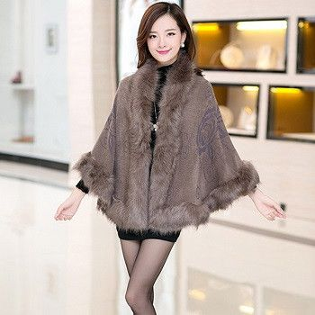Oversized Sweater Cardigan New Knitwear Wool Fall and Winter Print Shawl Scarf Collar Batwing Sleeve Women big yards Cape Coat