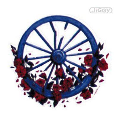 "Grateful Dead wheel and roses sticker measures 5"" in diameter."