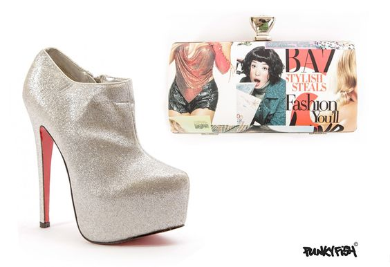 ALL YOU NEED IS BAGS & SHOES....heels: https://www.punkyfish.com/shoes/silver-glitter-high-heels-ankle-boots.html handbag: https://www.punkyfish.com/bags/design-ring-diamonted-hasp-day-fashion-magazine-poster-cover-handbag.html