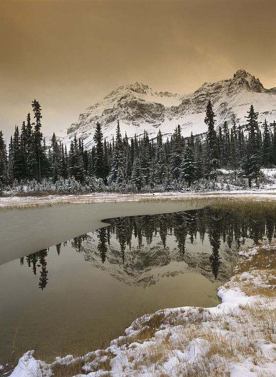 ✮ Canadian Rocky Mountains dusted in snow - Banff National Park, Alberta, Canada