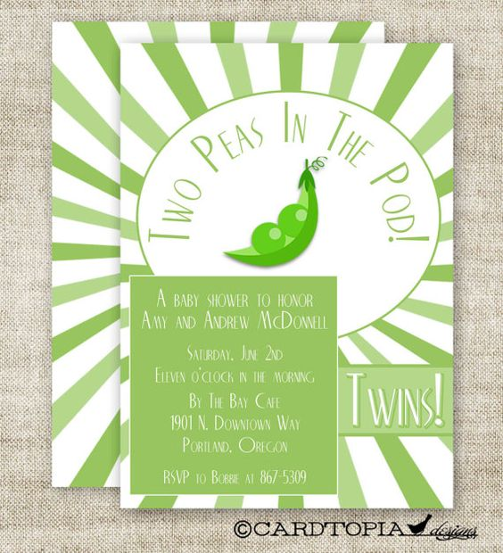 TWIN BABY SHOWER Invitations Digital Printable by CardtopiaDesigns