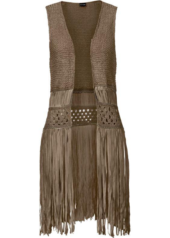 Colete de tricô com franjas oliva encomendar agora na loja on-line bonprix.de…