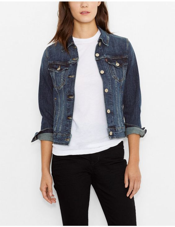 Denim jacket. Not solid dark blue, slightly worn look. Levis women's trucker jacket on Amazon is $45.