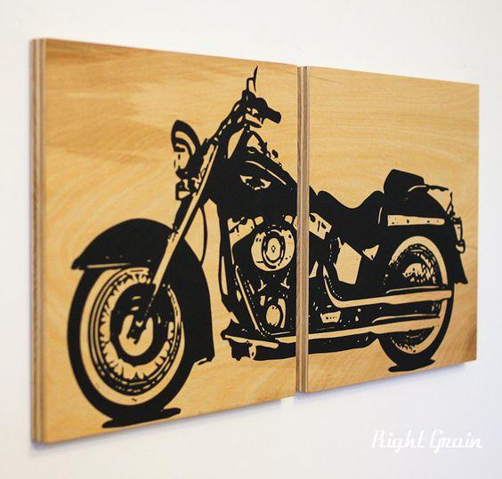 Motorcycle Wall Art - Harley Davidson on Woodgrain - Garage Art. $75.00, via Etsy.