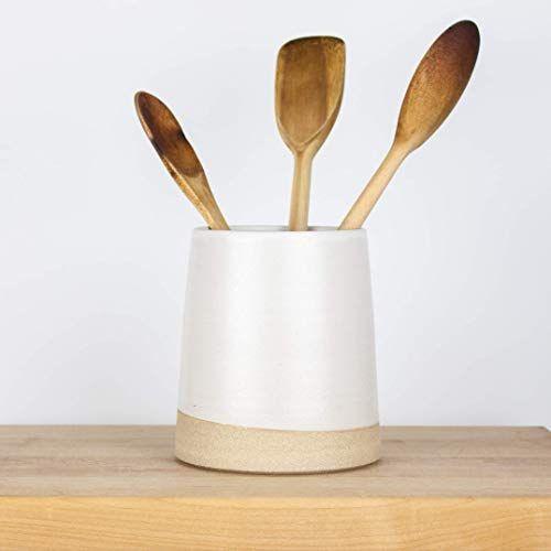 Amazon.com: Minimal Modern White Ceramic Utensil Holder by ...
