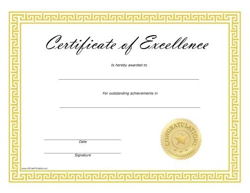Free Printable Certificates Of Excellence Free Printable Certificate Of Achievement Template Free Printable Certificate Templates Free Printable Certificates