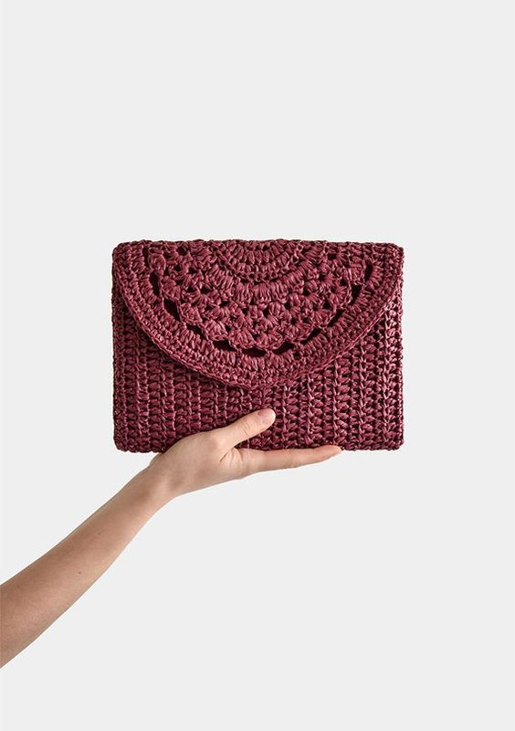 Crochet Raffia Clutch Bag Crochet Lace Clutch Straw Summer | Etsy