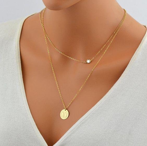 cz necklace delicate gold necklace tiny diamond necklace. Black Bedroom Furniture Sets. Home Design Ideas