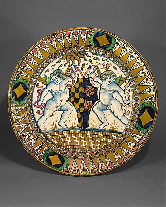 Dish (piatto) (c.1510), Italy. Tin-glazed earthenware (maiolica), 17.125 in. diameter. via the Met, NYC