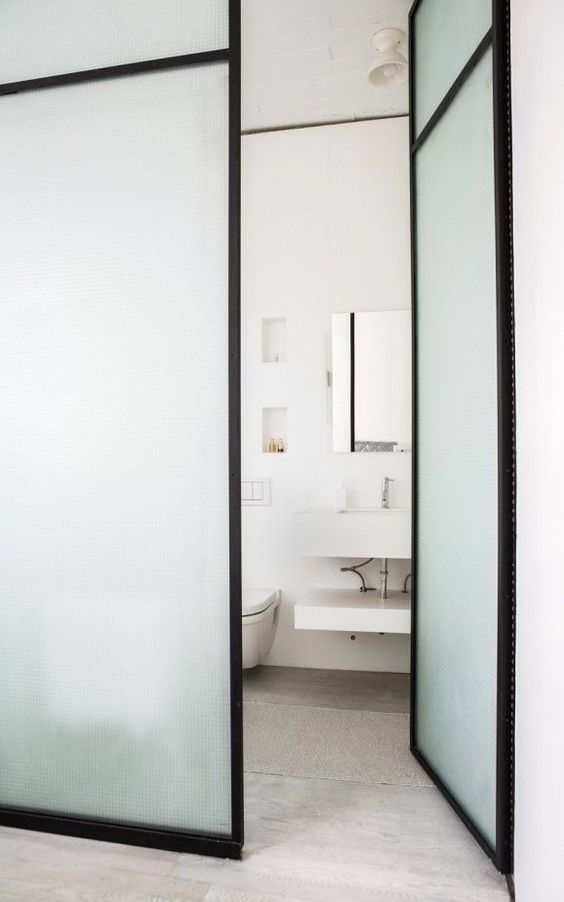 Glass partition glasses and bathroom doors on pinterest - Frosted glass interior bathroom doors ...
