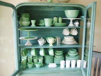 Jadeite dishes display