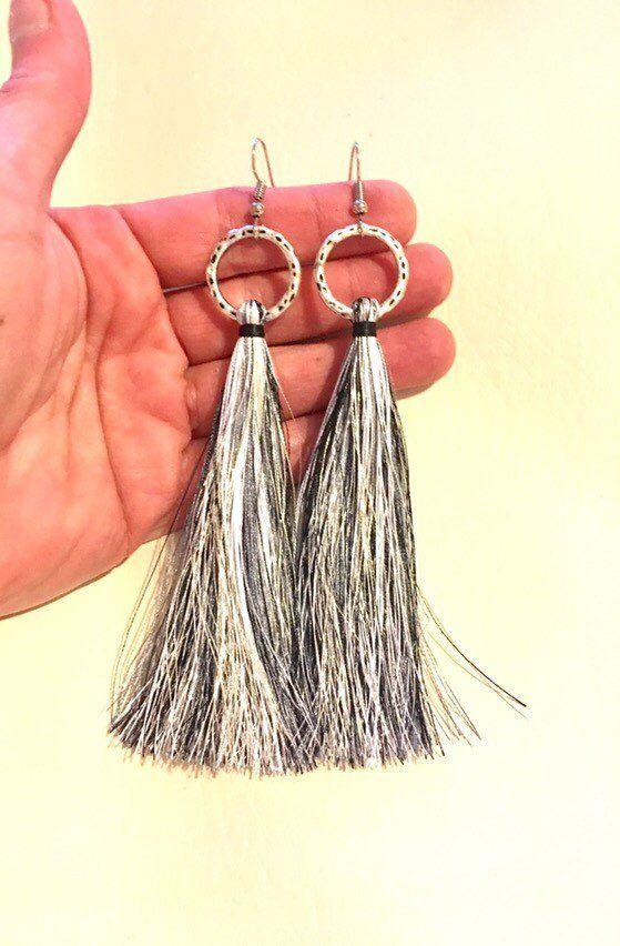 Long Blue Silk Tassel Earrings with Bohemian Style Handmade Tribal Jewellery