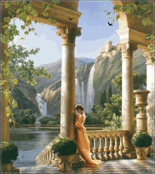 Menina Animação estando na coluna no fundo de uma cachoeira enorme, Lenusik, SIFCO menina que está perto da coluna no fundo de uma cachoeira enorme, Lenusik