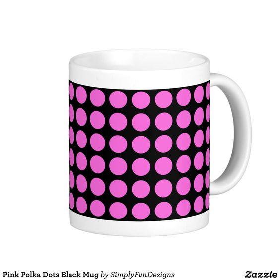 Pink Polka Dots Black Mug