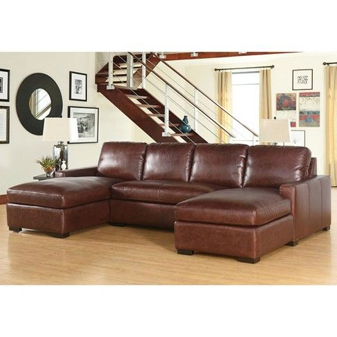 Liberty 100 Full Grain Leather 3pc Sectional Set Brown Abbyson Living Target 3 Piece Sectional Sofa Sectional Sofa Couch Sectional Sofa