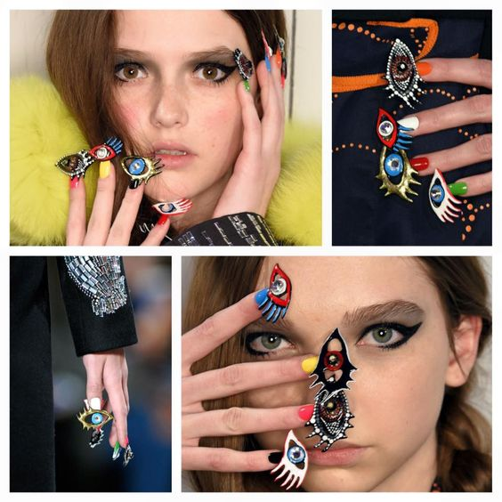 It took the CND Design Lab Team over 200 hours to create the eye-catching nail designs for the Libertine Fall/Winter 2016 NYFW runway! #CNDatFashionWeek #CNDforLibertine