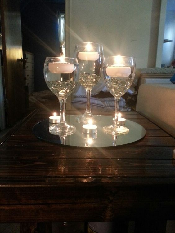 The o 39 jays floating candles and glasses on pinterest - Candle and mirror centerpieces ...