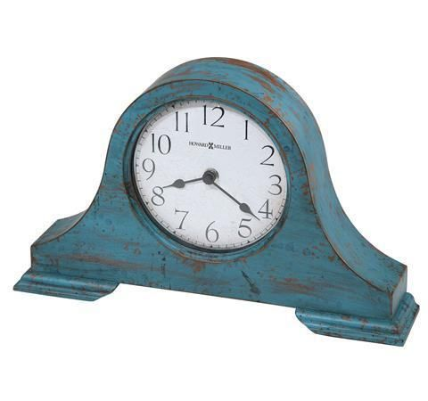 Howard Miller 635-181 Tamson: Tambour Style Case Mantel Clock with worn teal blue finish. Arabic numerals, felt bottom.