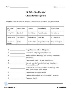 Worksheet To Kill A Mockingbird Worksheet Answers to kill a mockingbird and scene on pinterest character recognition quote test