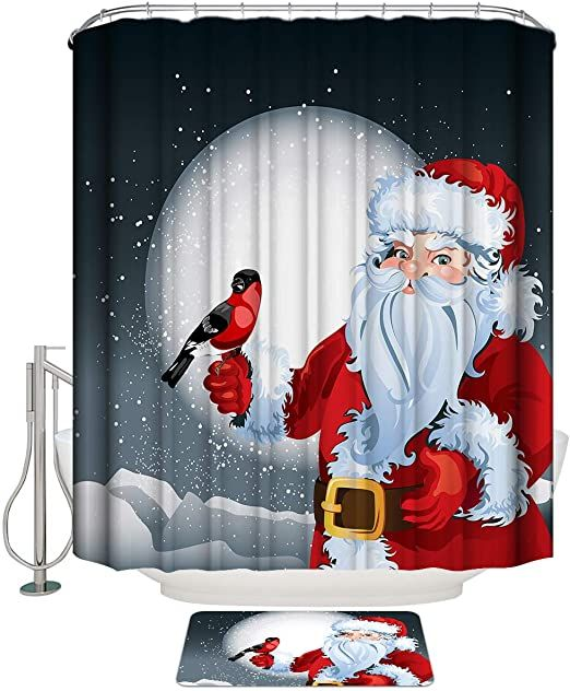 Christmas Polyester Fabric Shower Curtain Santa Bath Mat Toilet Lid Cover Rugs