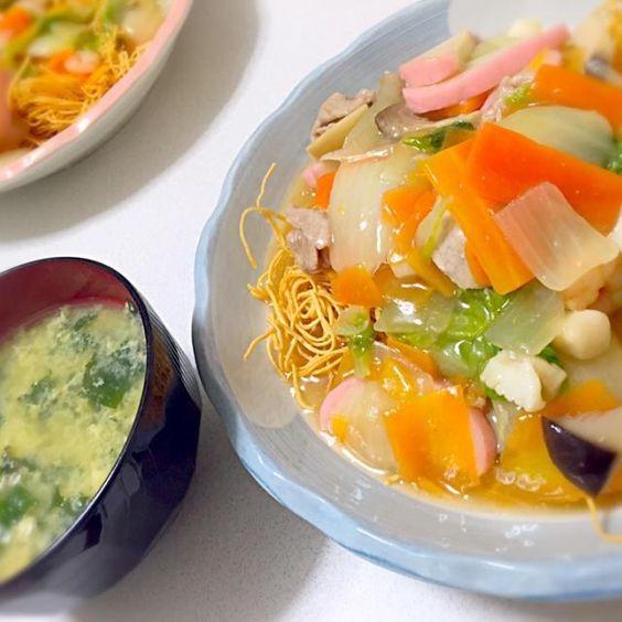 おなじみの妹のリクエストに応えて!!笑 白菜を入れてみましたー( ´ ▽ ` ) 具沢山で美味しかったです♡ - 23件のもぐもぐ - 皿うどん by azusa33