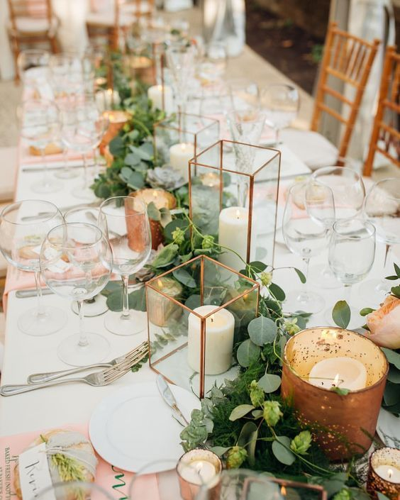 44 Trending Floral Greenery Wedding Dining Table Ideas Page 28 Of 44 Sciliy Romantic Wedding Centerpieces Industrial Wedding Centerpieces Greenery Wedding Centerpieces