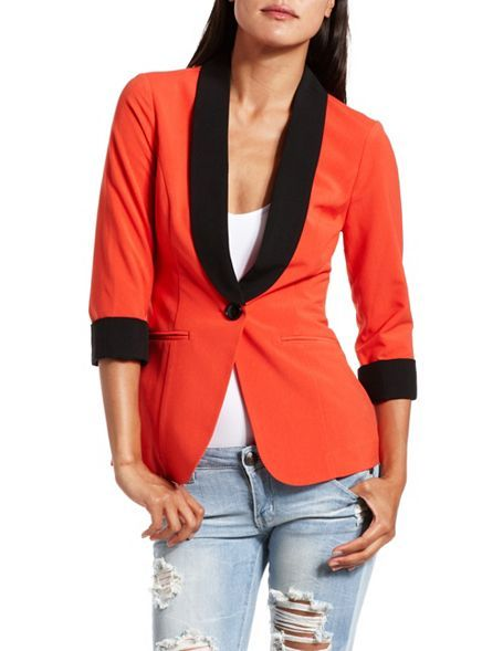 Roll-Cuff Tuxedo Blazer: Charlotte Russe