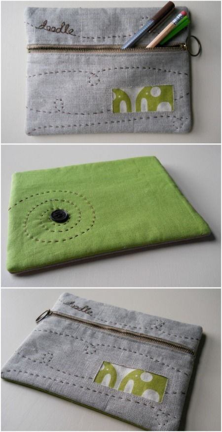 """pencil case - Love the """"doodle"""" design - comes with a tutorial"""