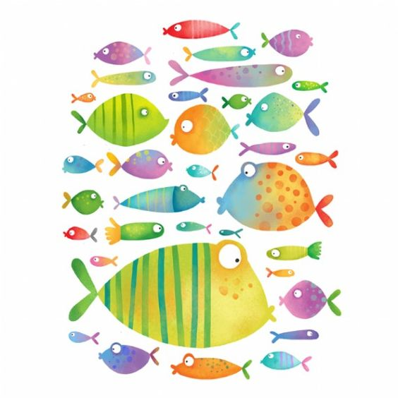 Evelline Andrya Illustration - Cute Fish - would be fun to watercolor: