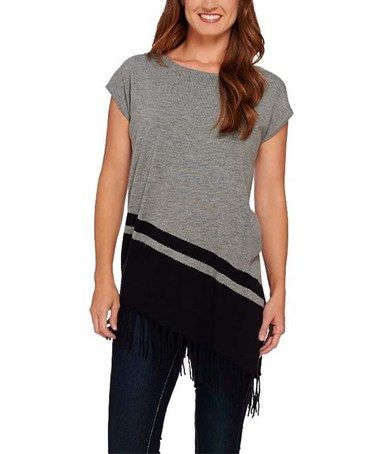 Loving this Gray Fringed Asymmetric Hem Sweater Top - Plus Too on #zulily! #zulilyfinds