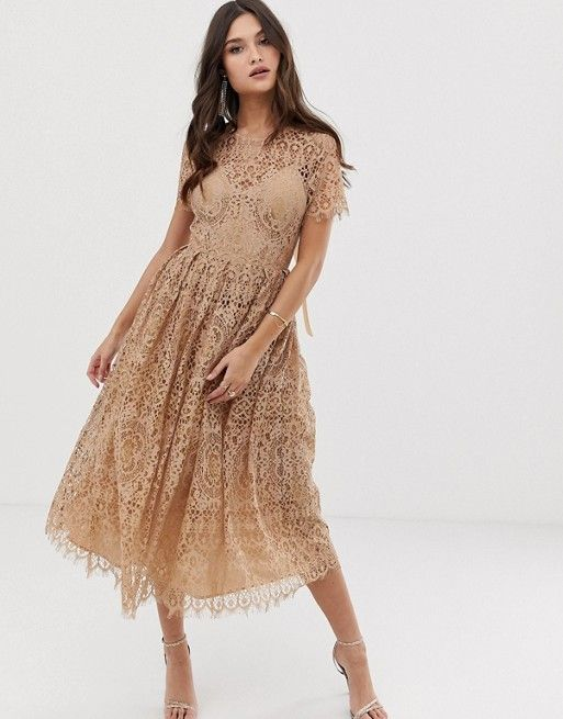 Asos Design Asos Design Lace Midi Dress With Ribbon Tie
