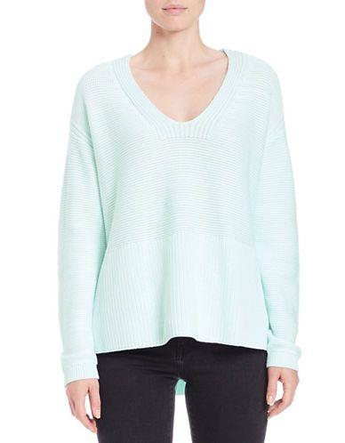 Lord & Taylor Oversized V-Neck Pullover Women's Moonlight Jade Medium
